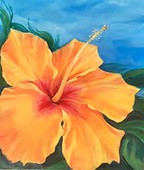 4-28-18 at the Visual Arts Center - Paint a colorful hibsicus with Marki Raposa