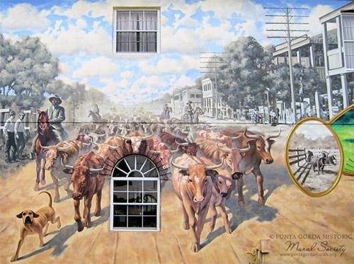 Punta Gorda Mural of a Cattle Drive in Downtown Punta Gorda
