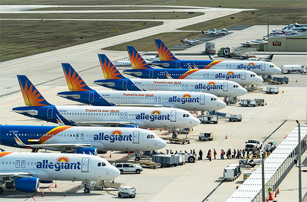 7 Allegiant Airplanes are lined up at Punta Gorda, FL Airport
